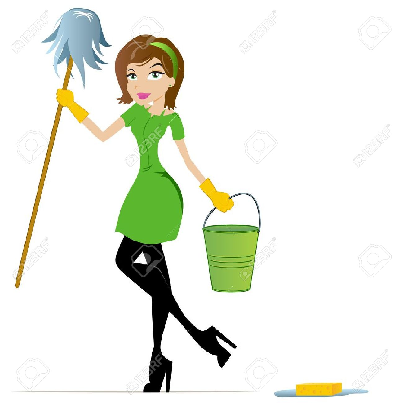 Cleaning Woman with Mop and Bucket - 15300438