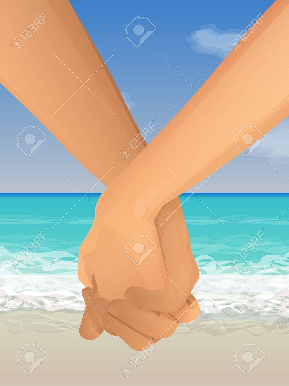 Couple holding hands at the beach Stock Vector - 15311884