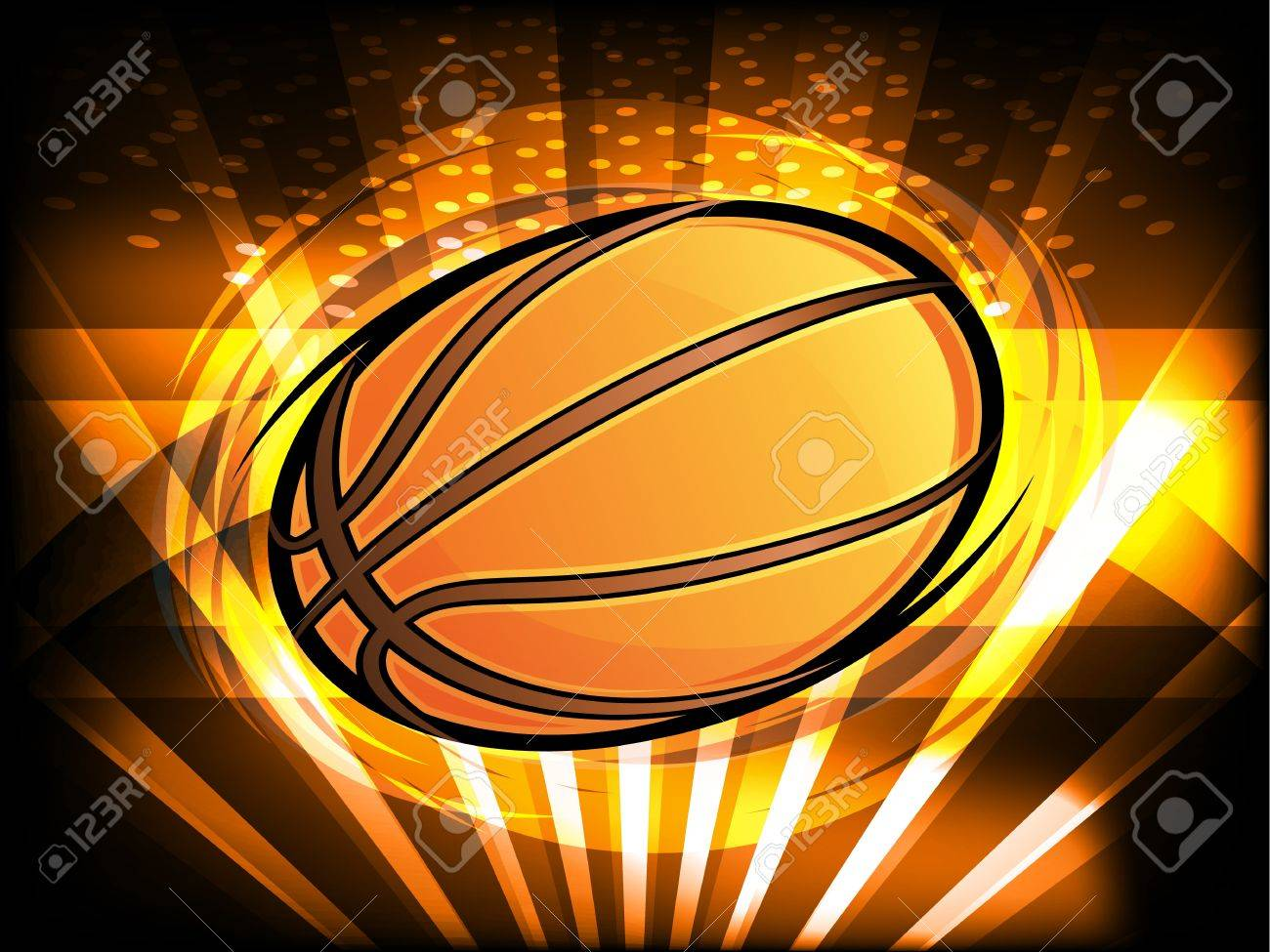 Basketball Icon with Bright Light Beams Spinning - 15311889