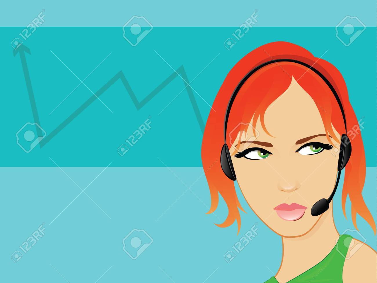 Telemarketing Operator Business Woman Talking on a hands free headset Stock Vector - 15463168