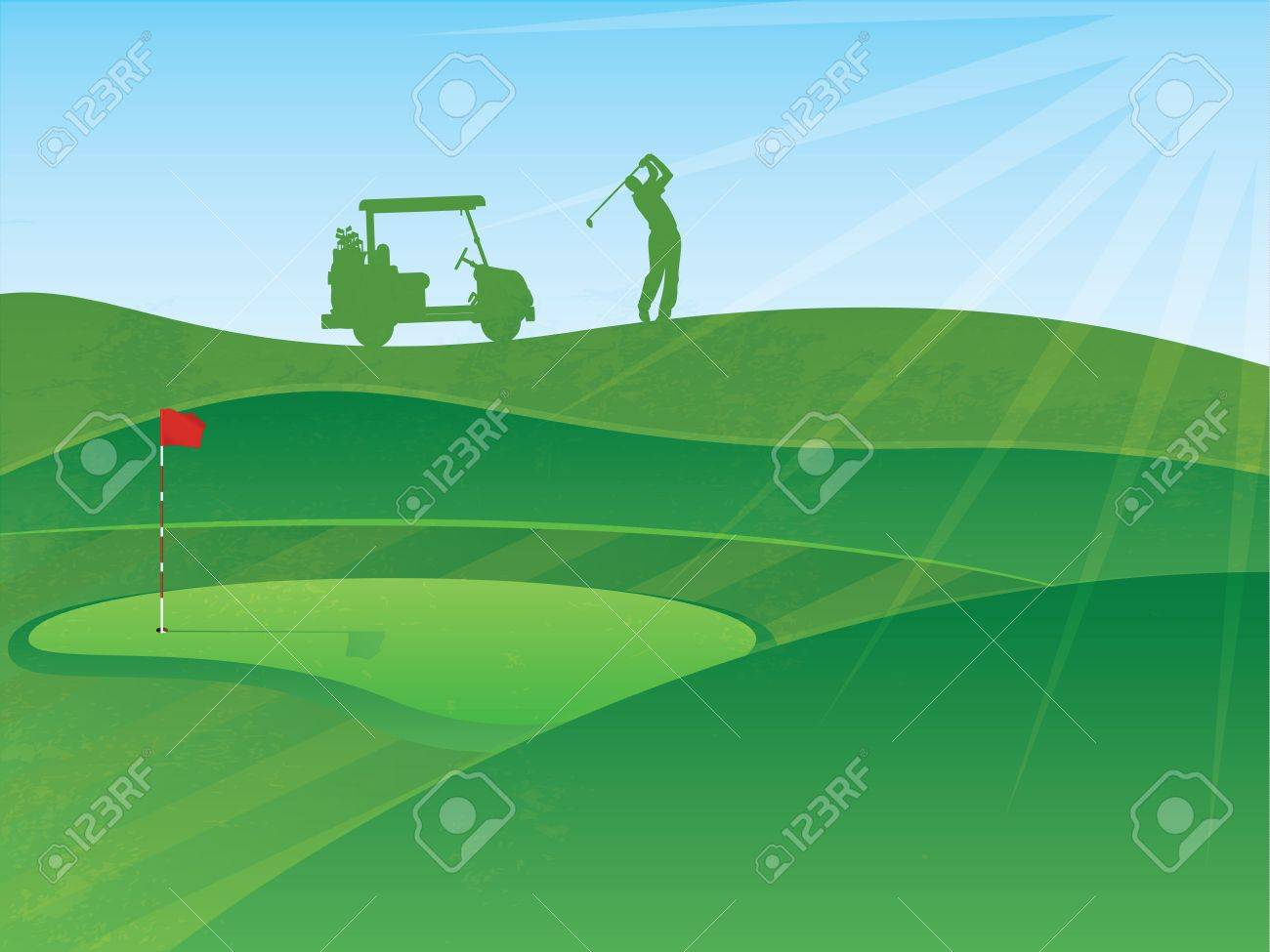 Golf Course Hills Background with a Golfer and Cart in the Distance - 15632591