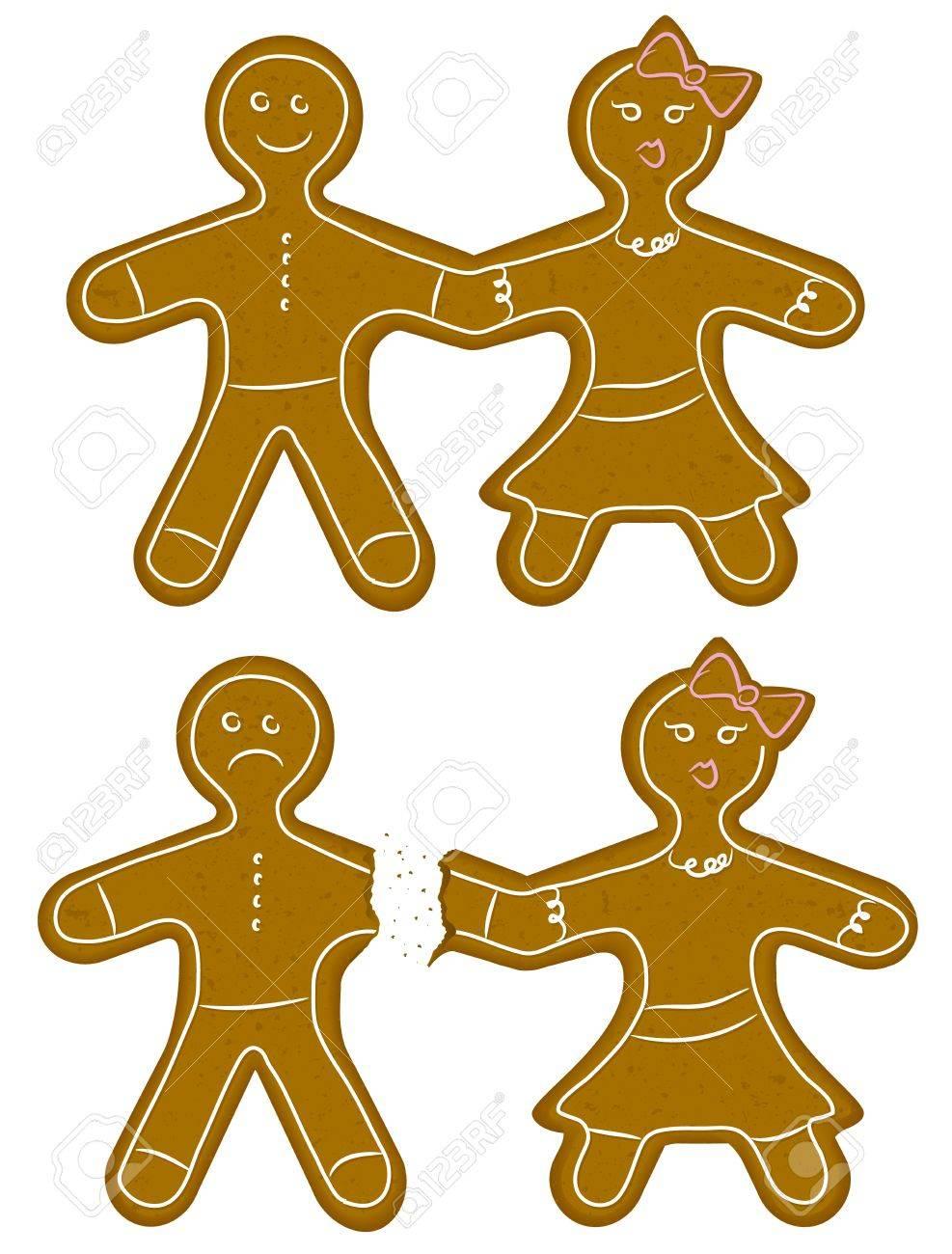 Gingerbread Couple Break Up Stock Vector - 16627899