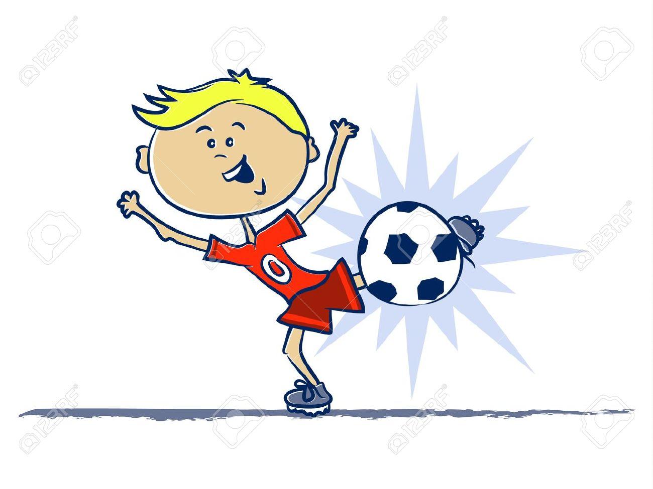 A Boy Kicking a Soccer Ball Cartoon Stock Vector - 17470523