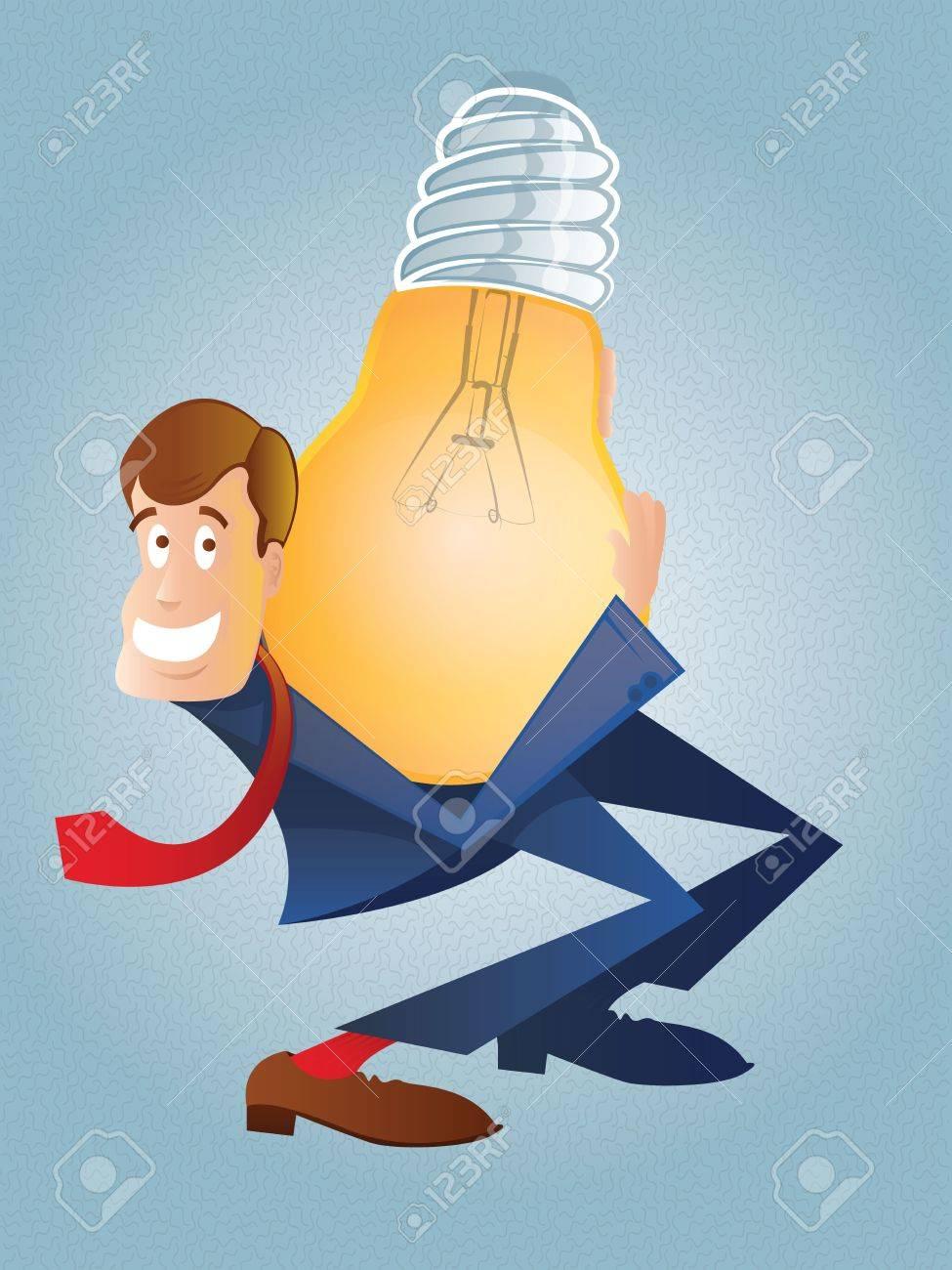 Big Idea/Businessman Carrying a Giant Light Bulb Stock Vector - 18149876