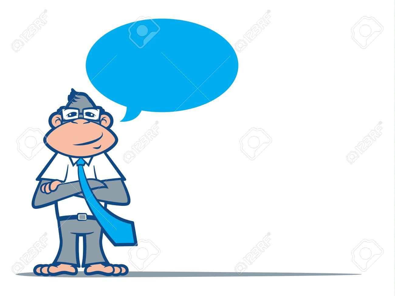 Cartoon Monkey Nerd Wearing A Tie And Talking Stock Vector  21674865
