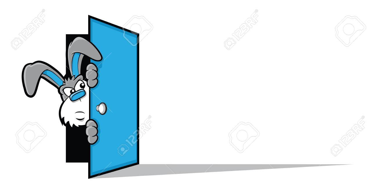 Illustration of a gray bunny rabbit peering around a large blue door Stock Vector - 21967826