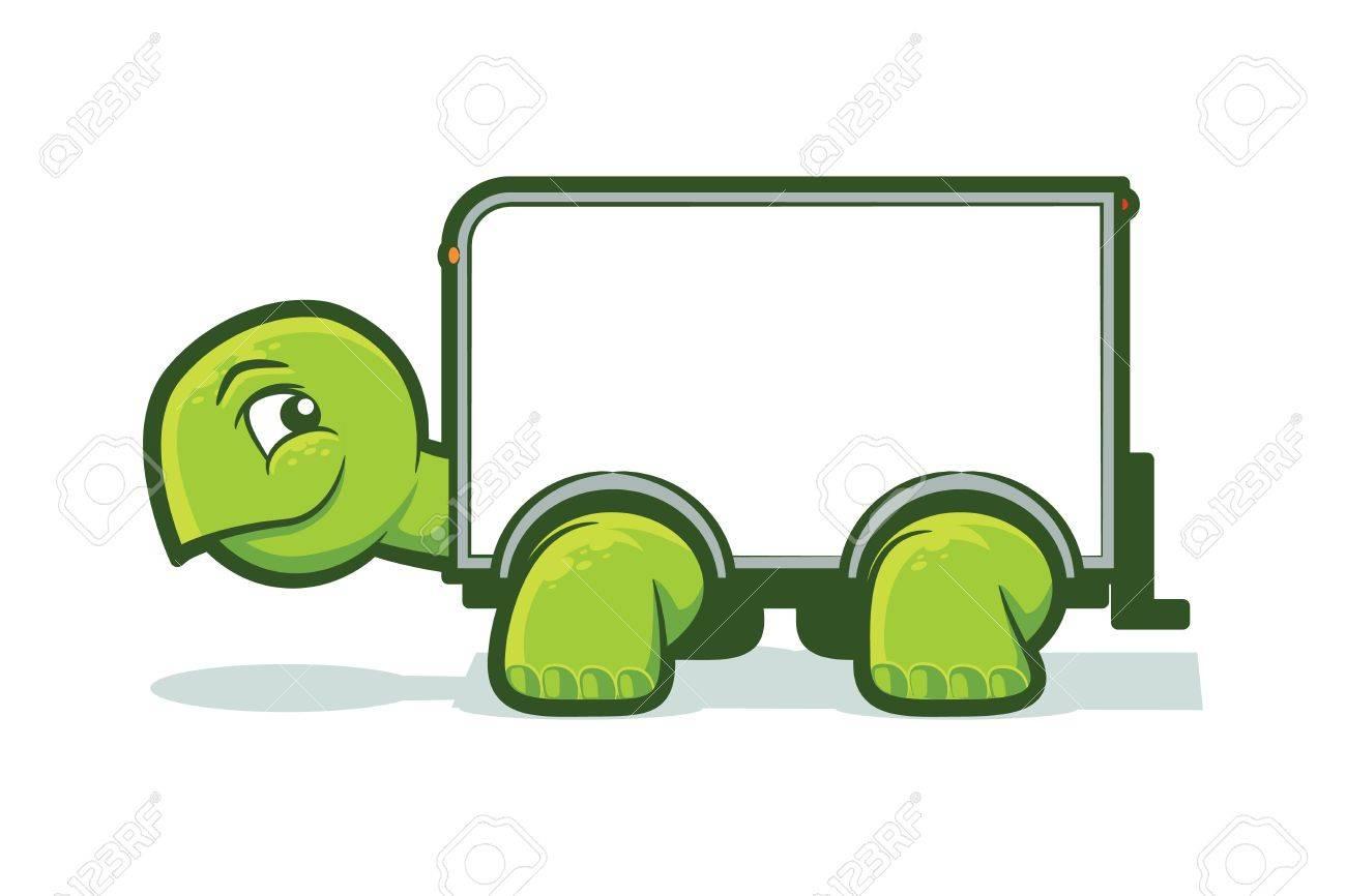 Cartoon tortoise with a box truck shell - 21967827