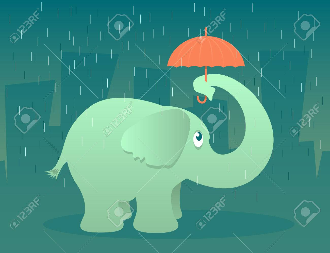 Illustration of an elephant standing in the rain under a tiny