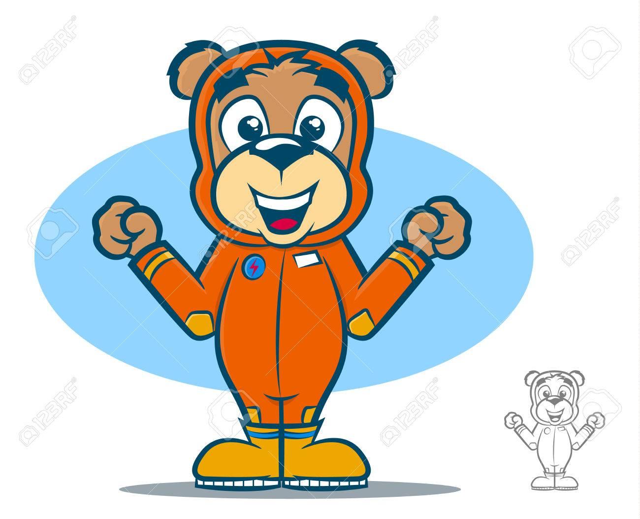 Cute teddy bear cartoon wearing an orange jumpsuit Stock Vector - 24540796