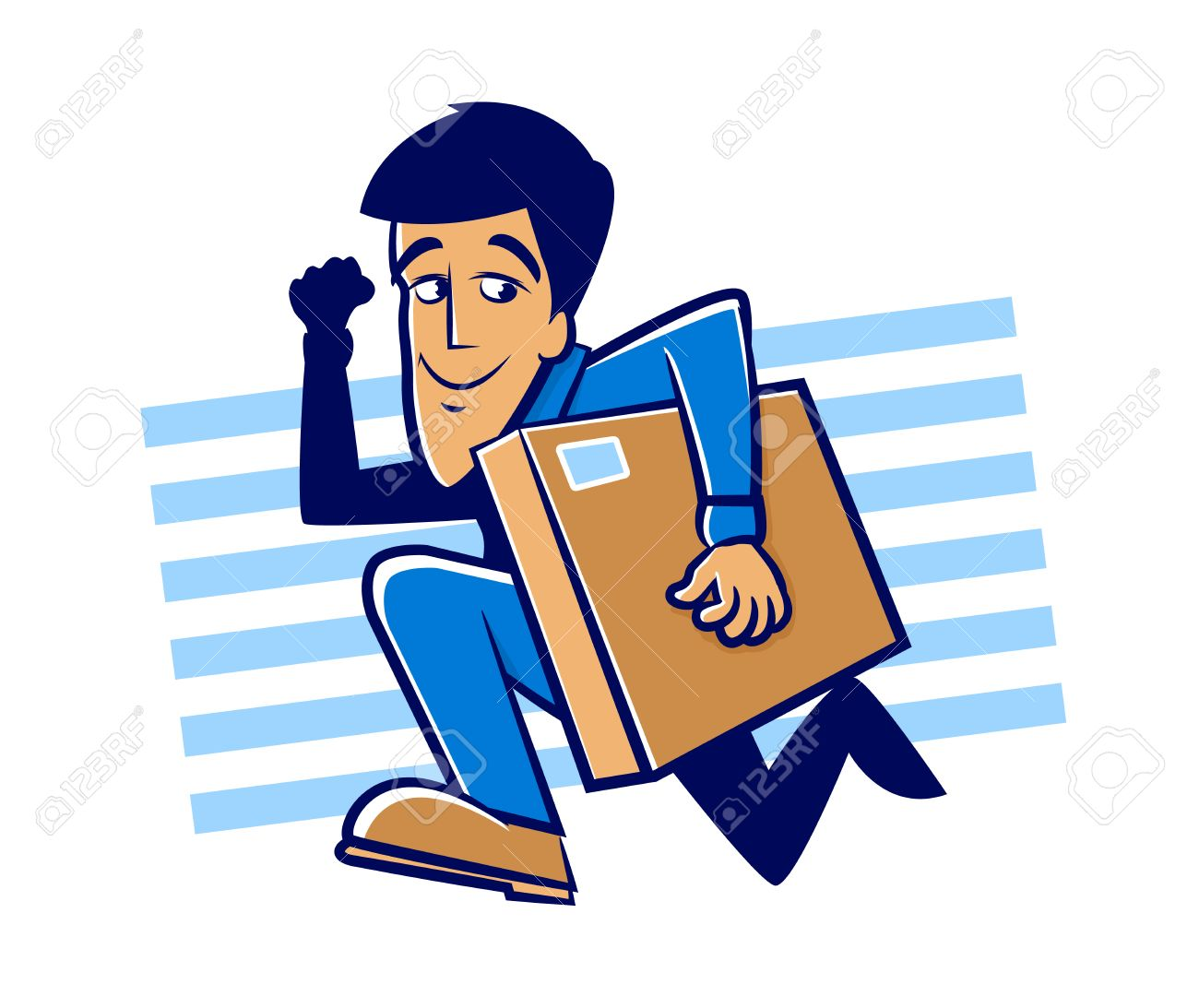 Messenger man running with a large package Stock Vector - 25185056