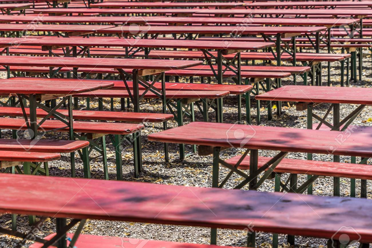 Ugly Old Red Wooden Benches And Tables From Which The Paint Stock Photo Picture And Royalty Free Image Image 106958080