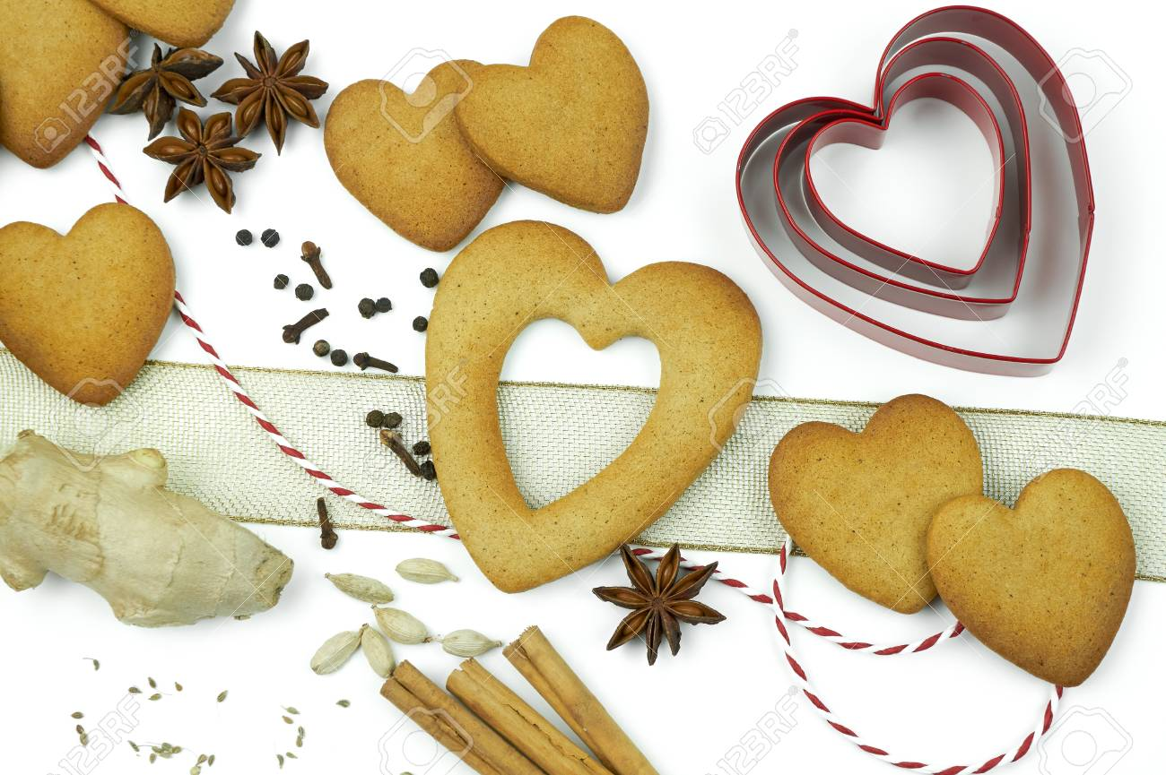 Composition of heart shape cookies and spices. Stock Photo - 17246612