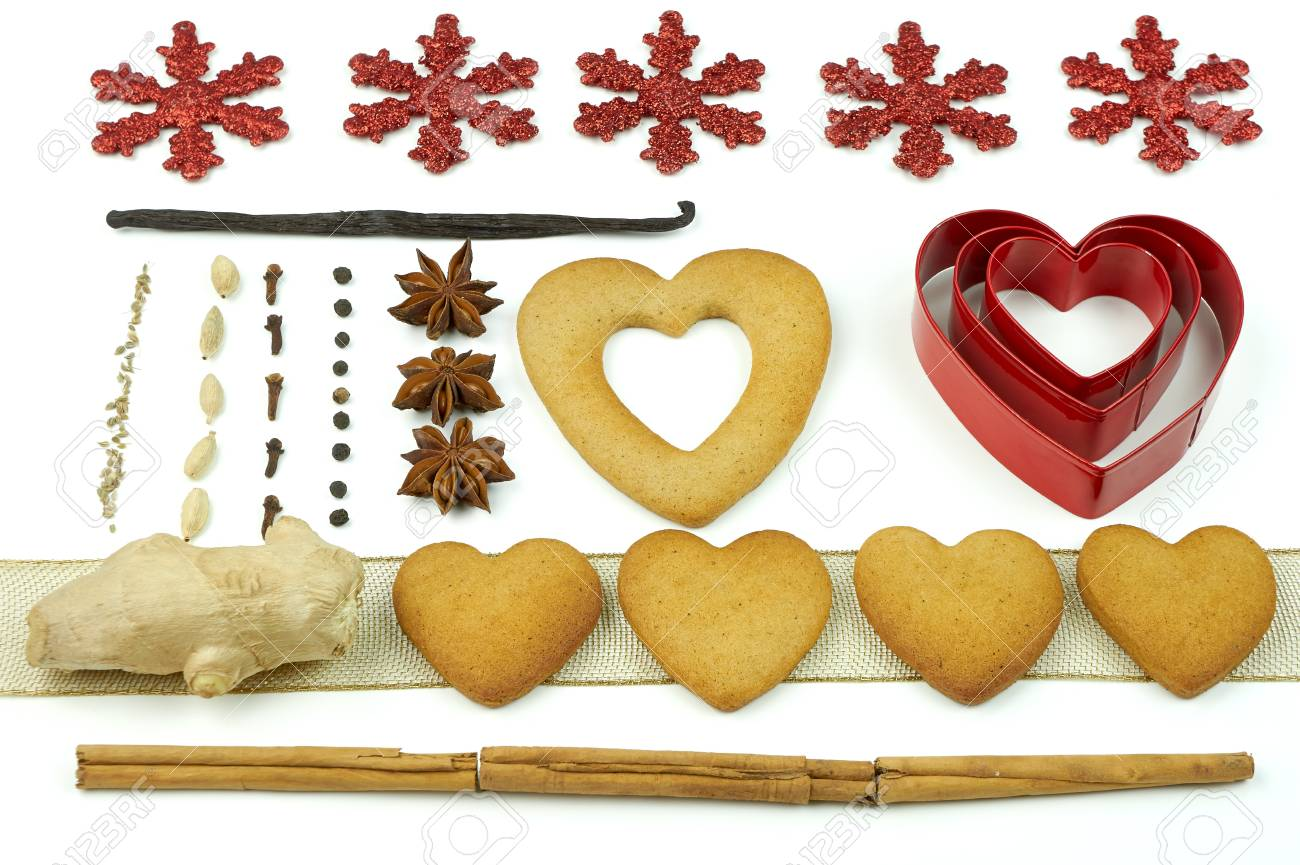 Composition of heart shape cookies and spices. Stock Photo - 17246614