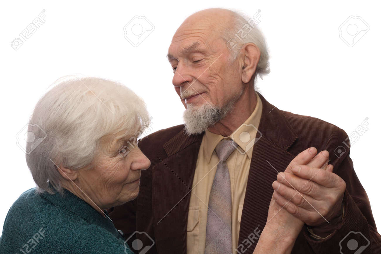 Senior couple dancing, man holding woman's hand, isolated on white background Stock Photo - 847534