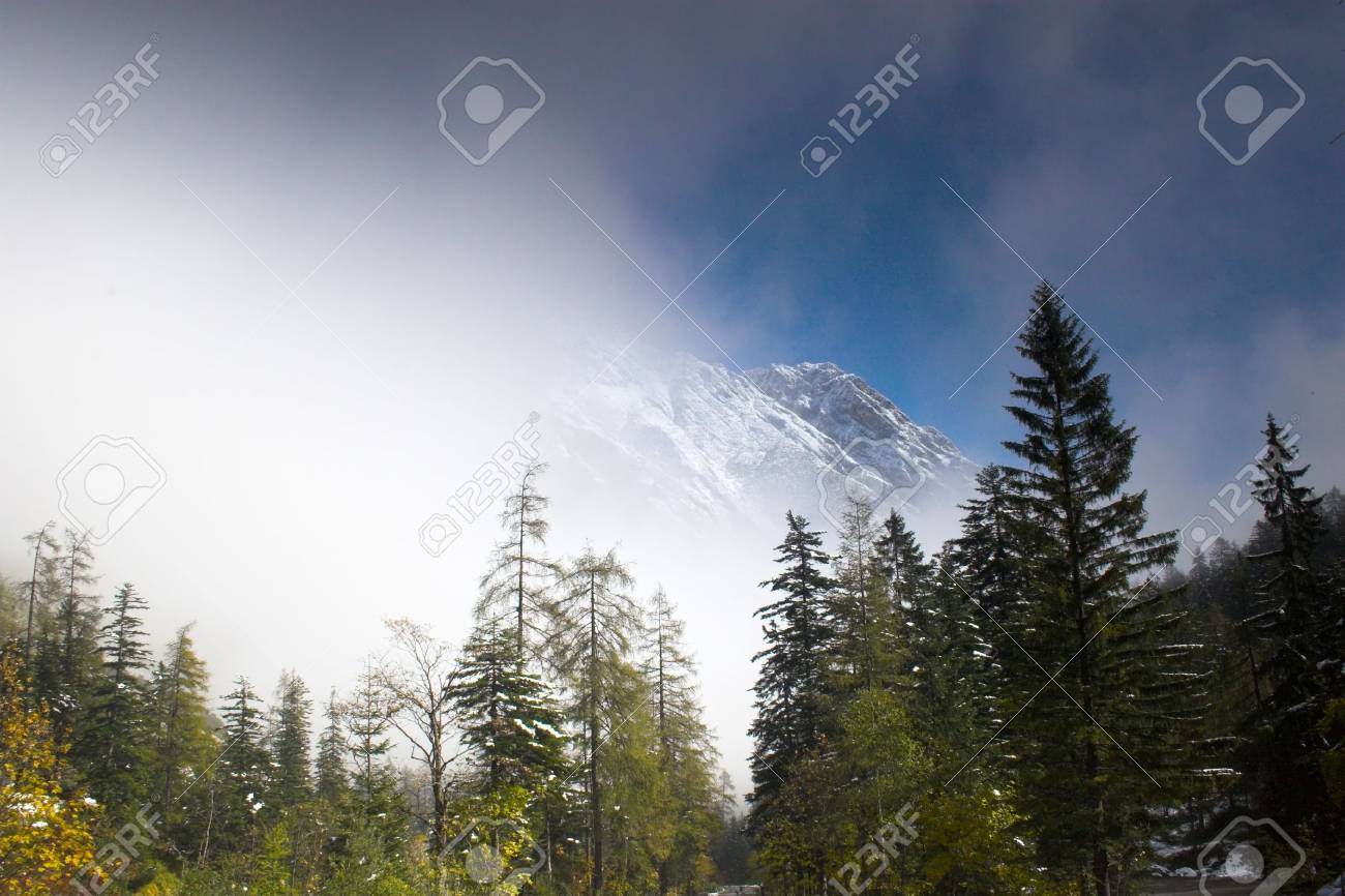 Snowy Mountain And Trees In Alp Region Of Austria