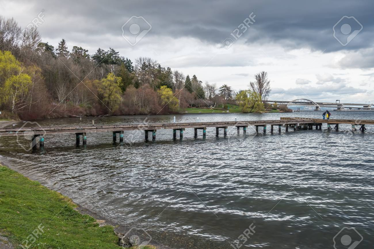 A view of a pier on Lake Washington in Seattle  Highway I-90