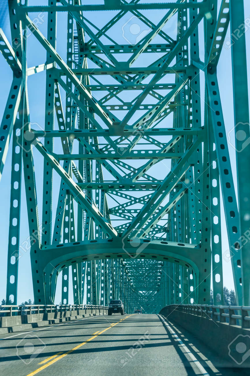 A view of the south end of the Astoria-Megler bridge in the Oregon State. - 142320992