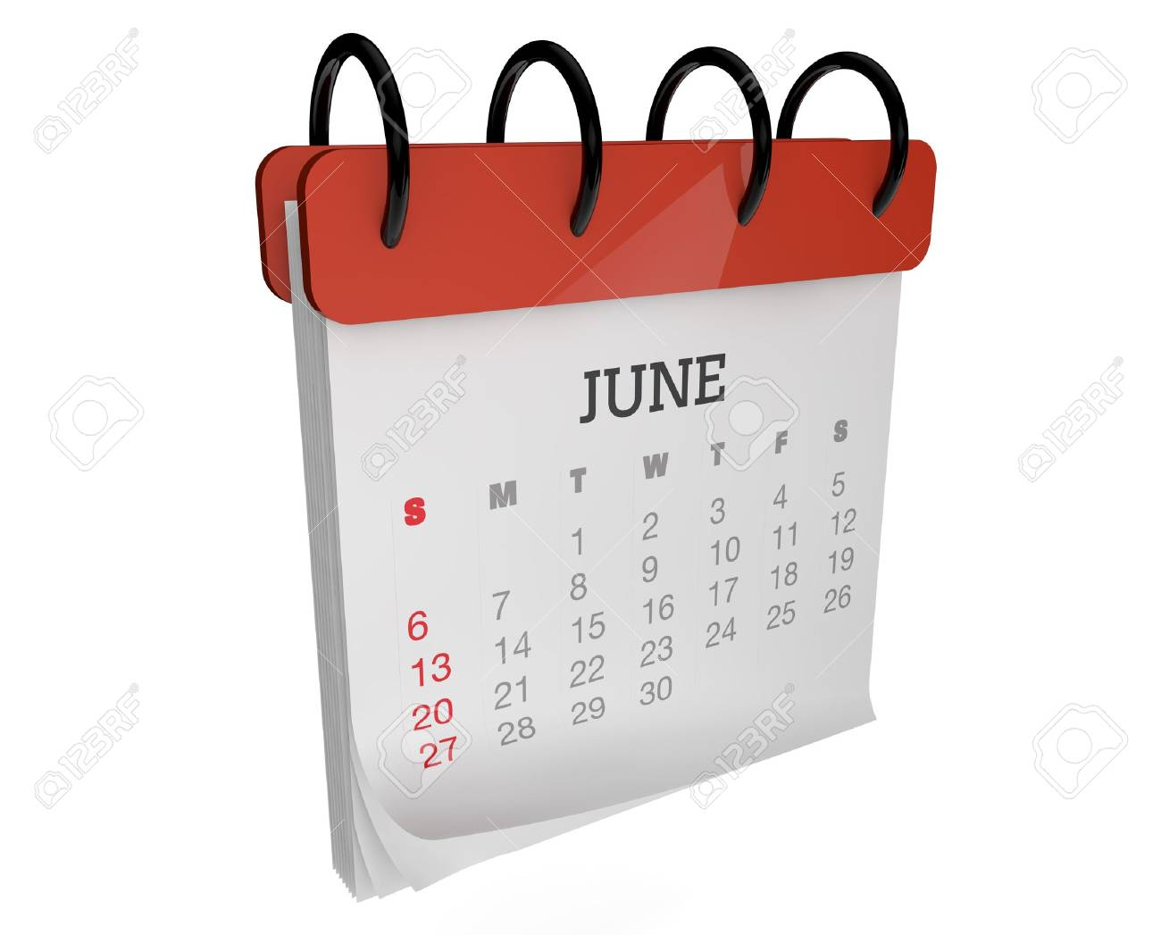 render of an square calendar june month Stock Photo - 15542427