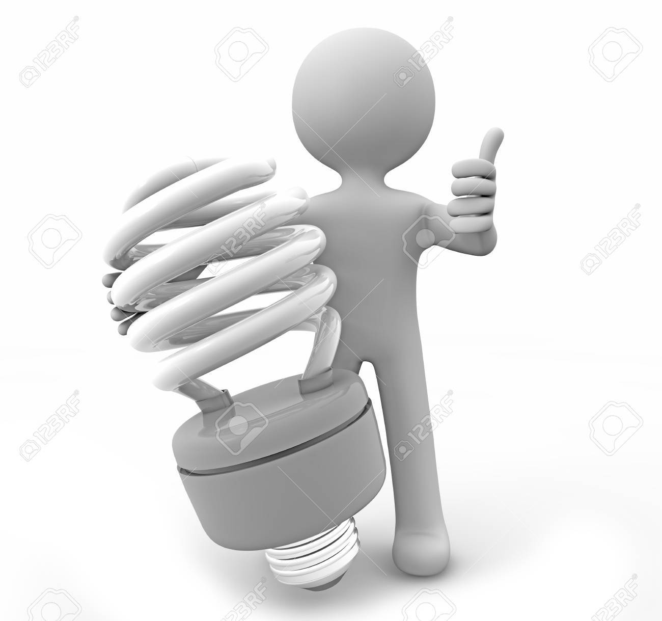 render of a man with a lightbulb Stock Photo - 15882971