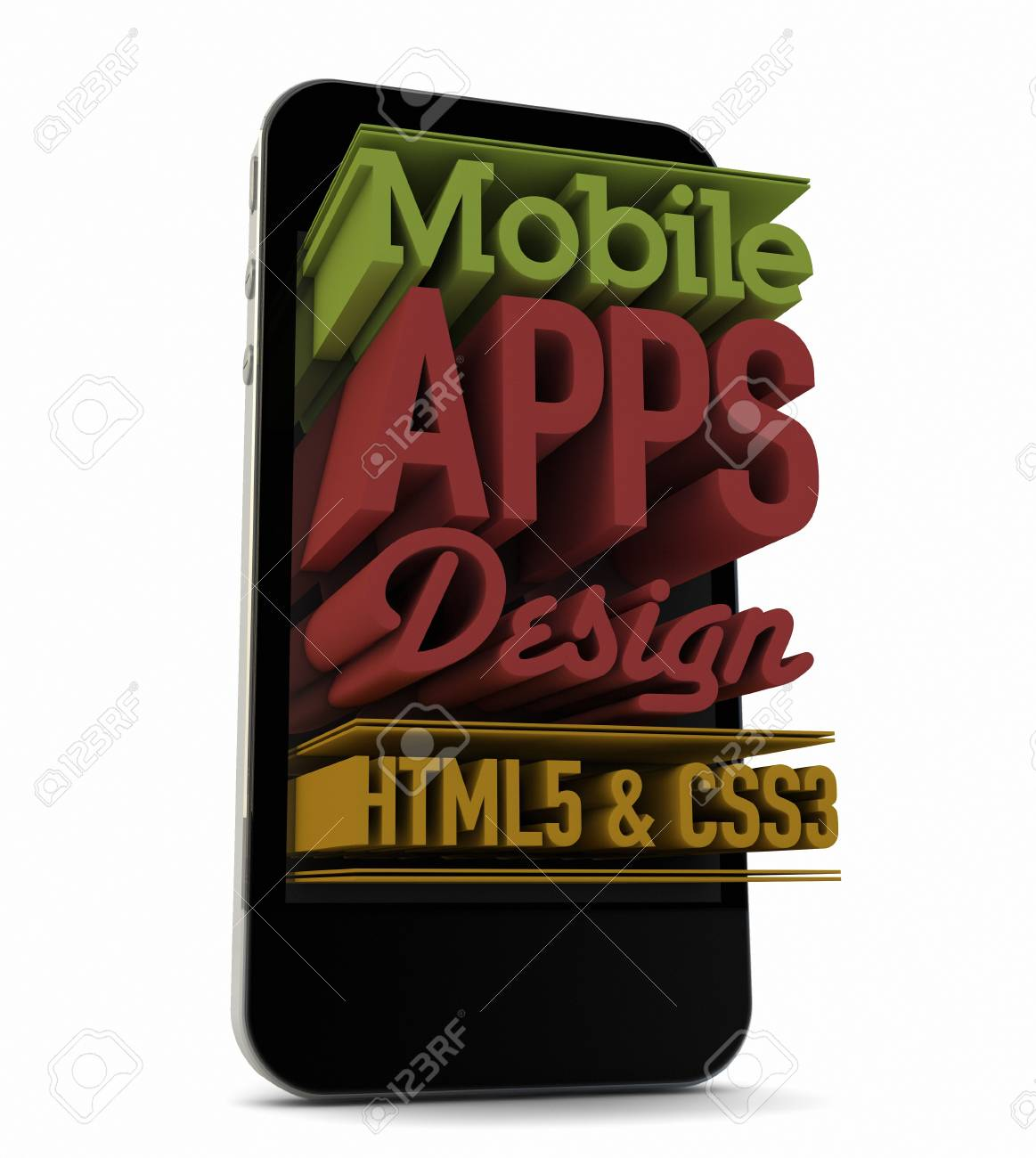 render of an smartphone with text on the screen Stock Photo - 18571893