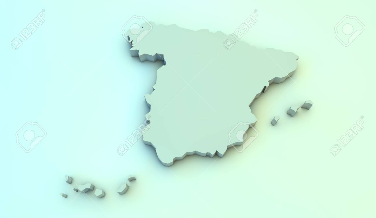 3d Map Of Spain.Render Of A Spain 3d Map