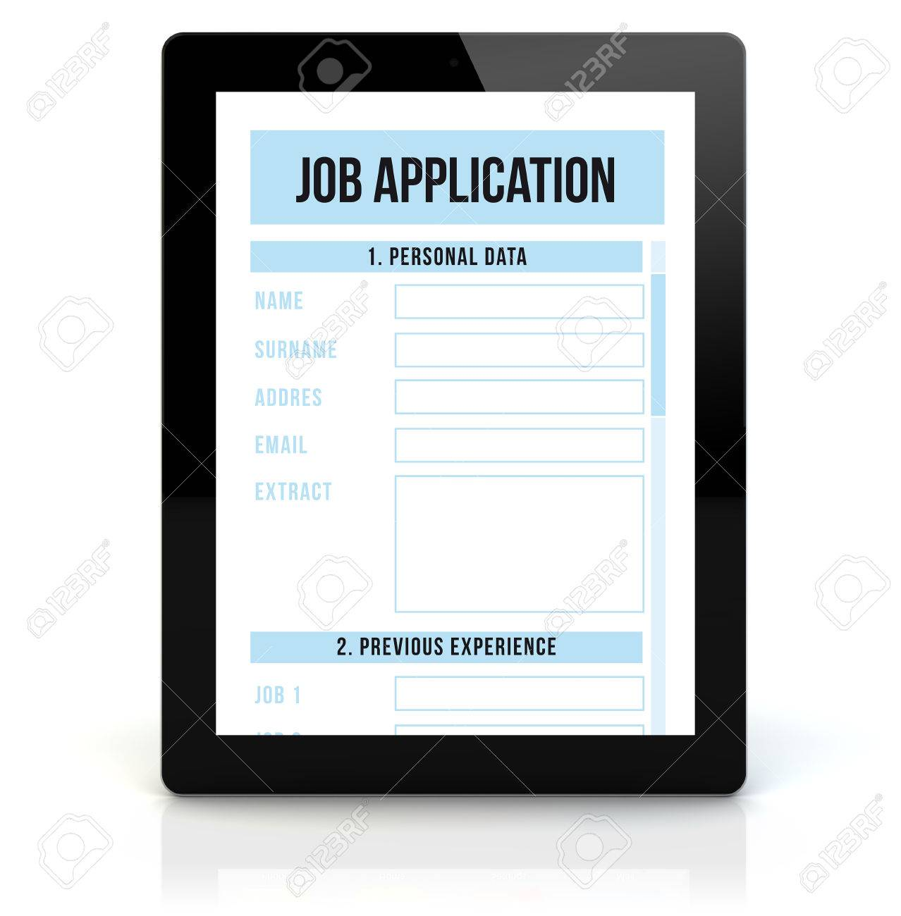 8323748d51 job application concept  render of a tablet pc with rjob application on the  screen Stock