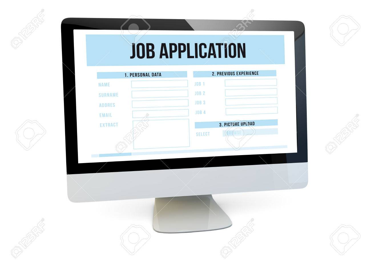 modern job search online concept render of a computer job stock photo modern job search online concept render of a computer job application form on the screen