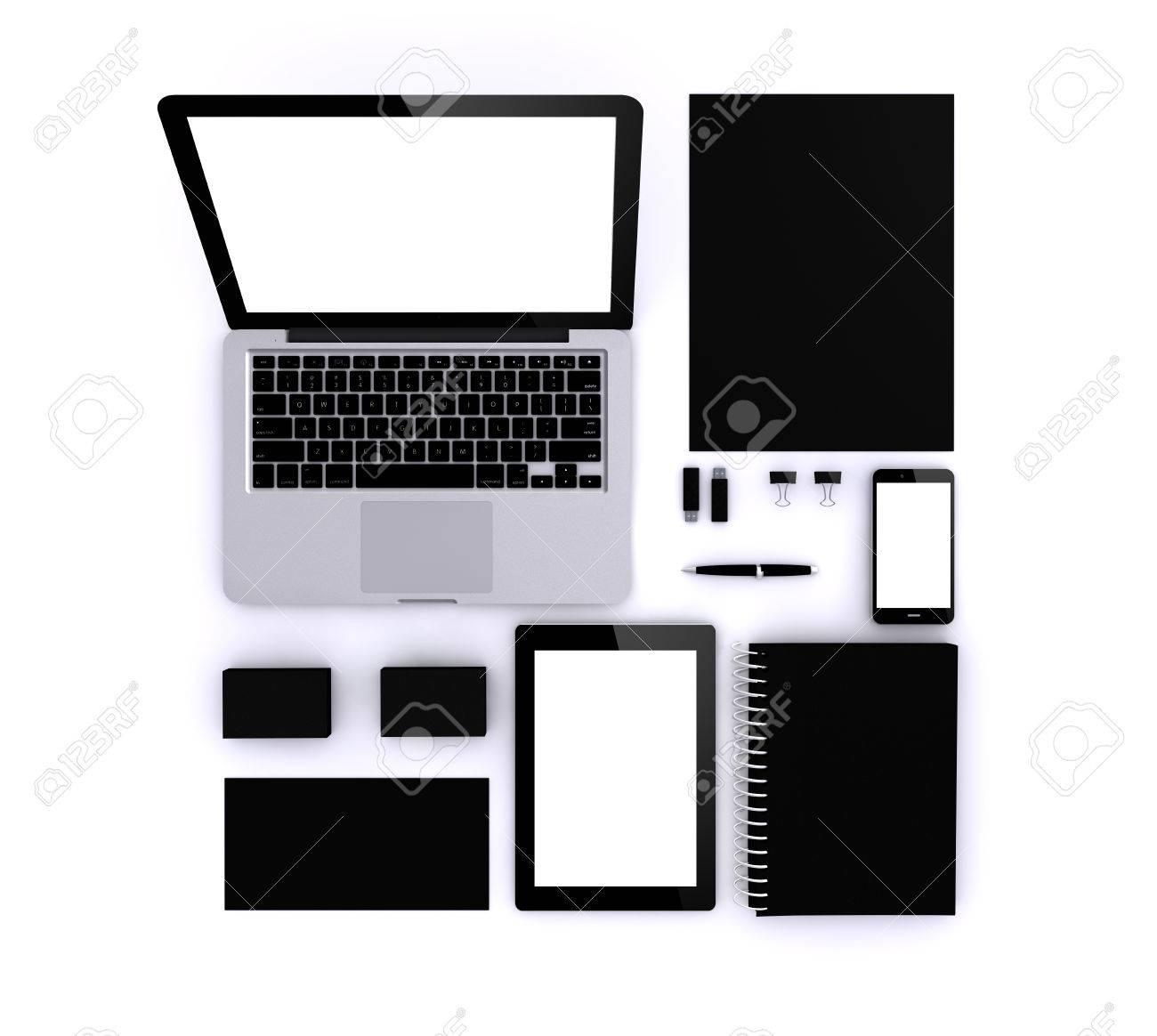 Black Mock-up: Business Cards, Laptop, Smartphone, Tablet, A4 ...