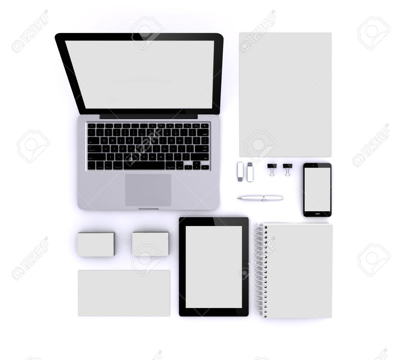 render of a zenith view of Blank Corporate ID Set isolated: Business