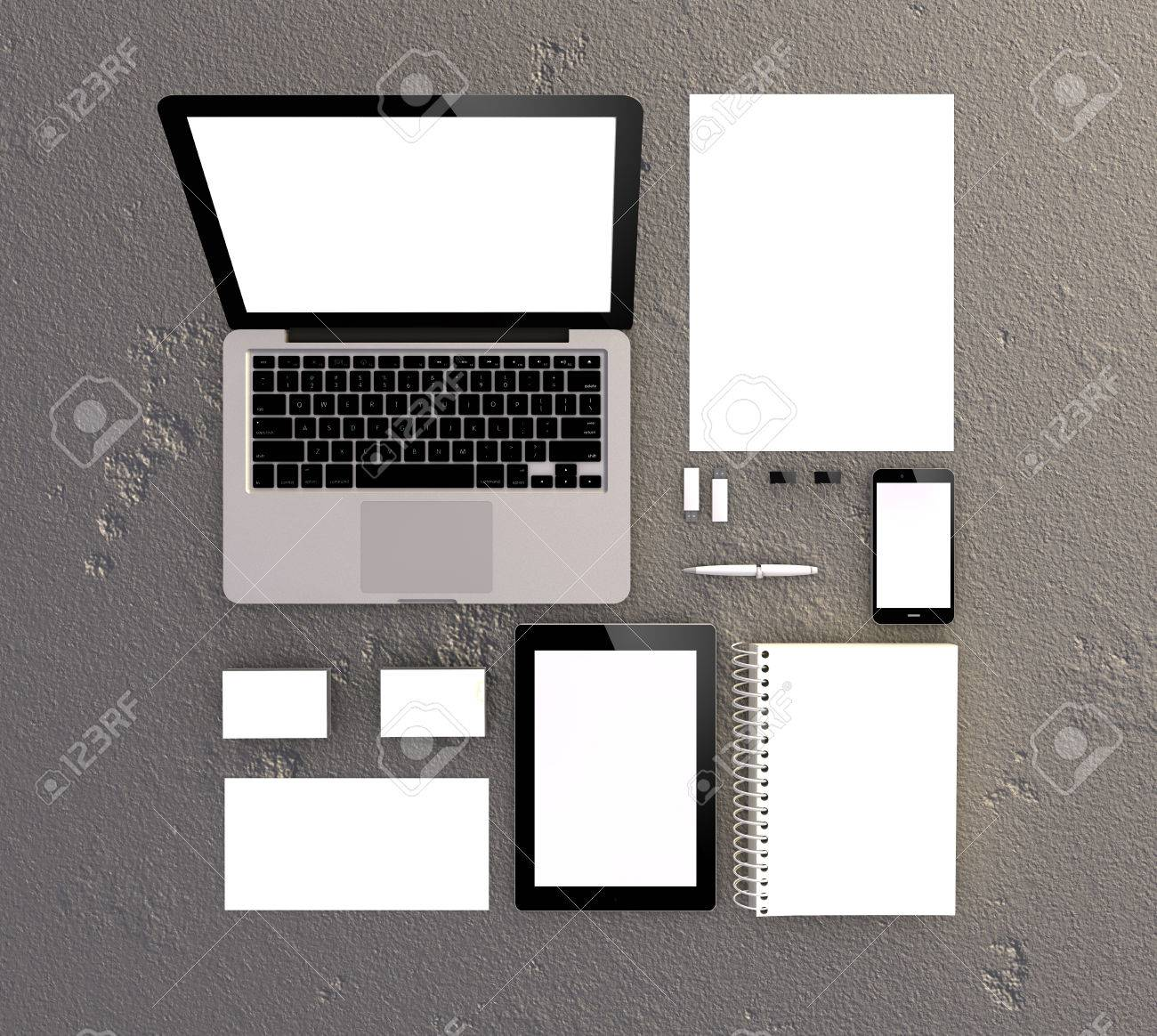 3d Generated Blank Stationery And Corporate ID Template. Business ...