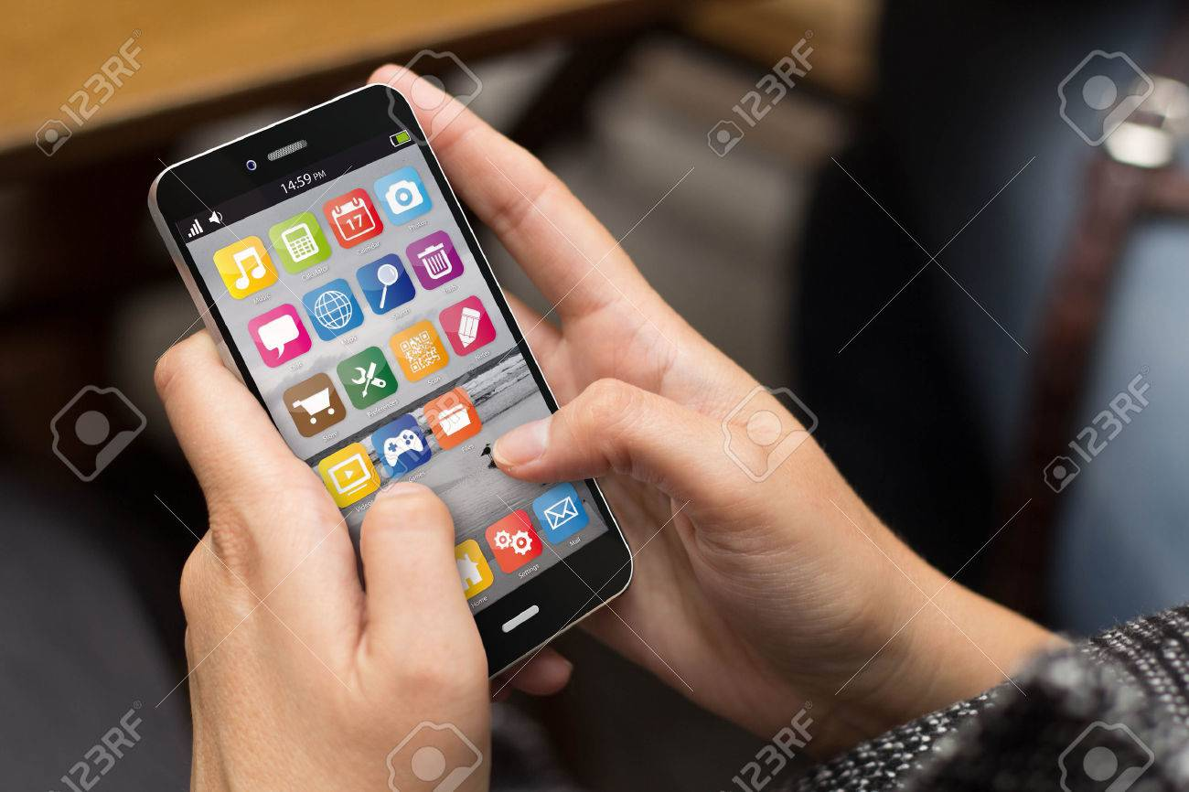 communications concept: girl using a digital generated smart phone. All screen graphics are made up. - 45968863
