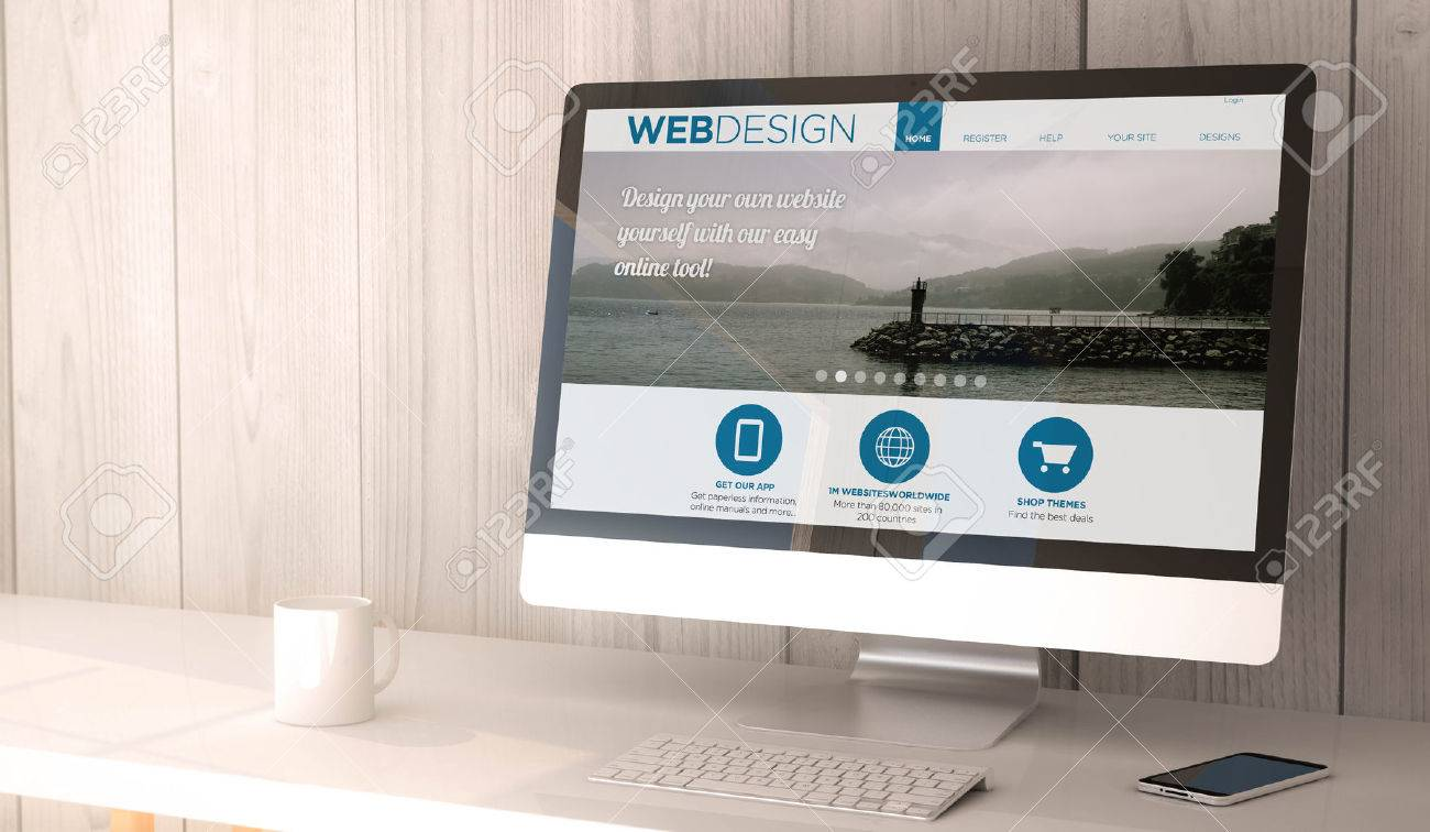 digital render generated workspace with computer and smartphone web design website on screen all