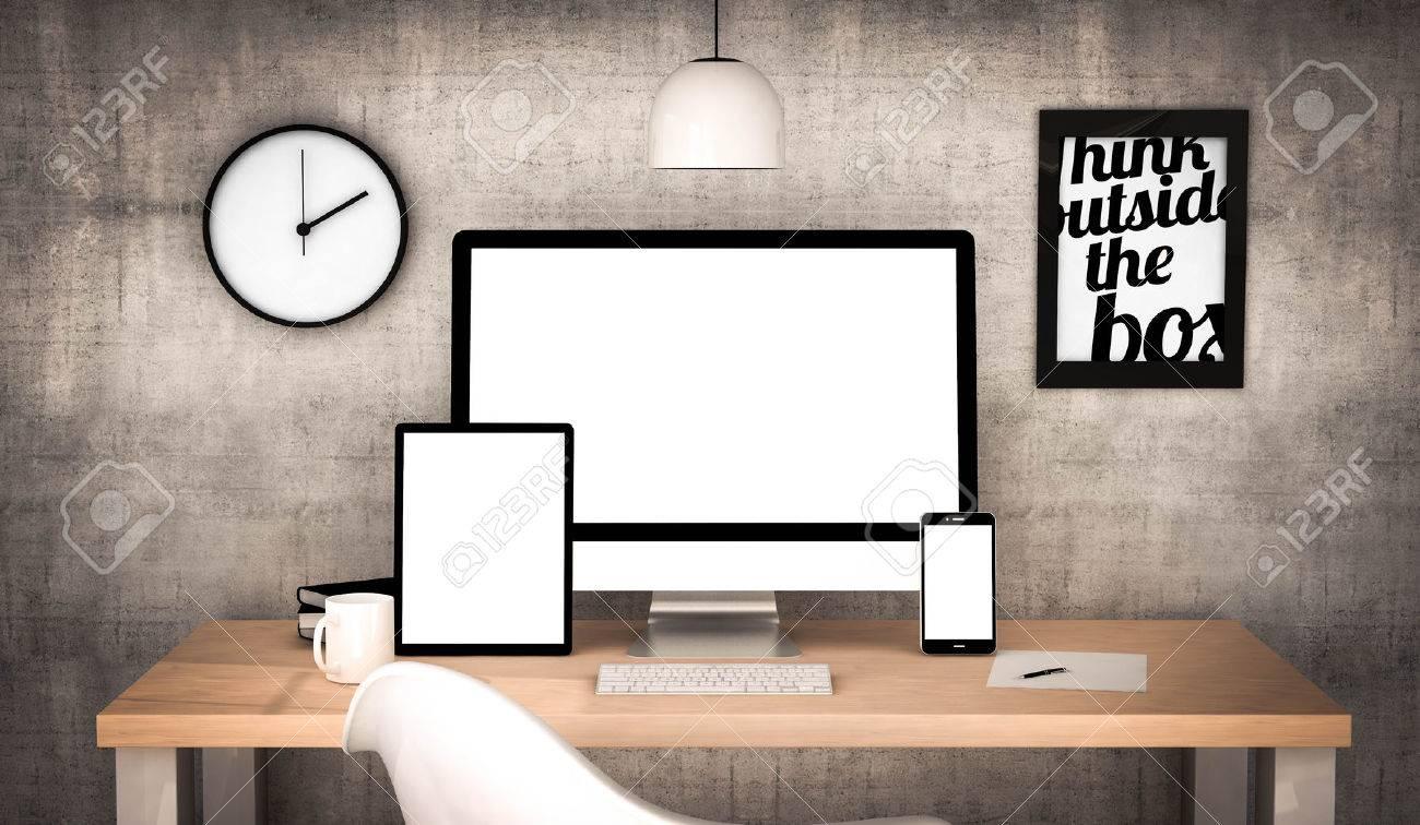 Numérique généré bureau de travail avec tablette écran blanc
