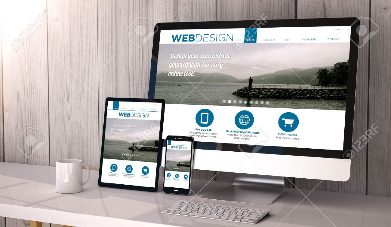 digital generated devices on desktop responsive blank mock up
