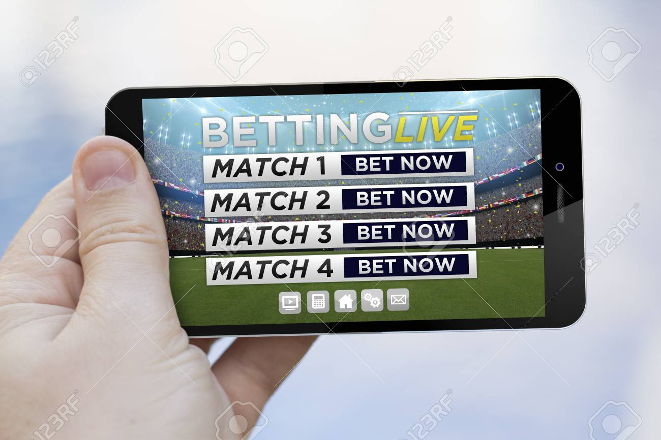 communications concept: hand holding an online betting live 3d