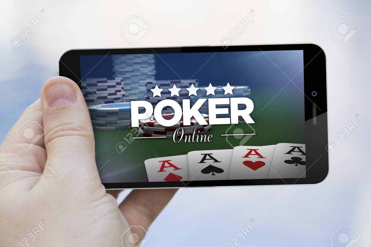 addiction concept: hand holding an online poker 3d generated