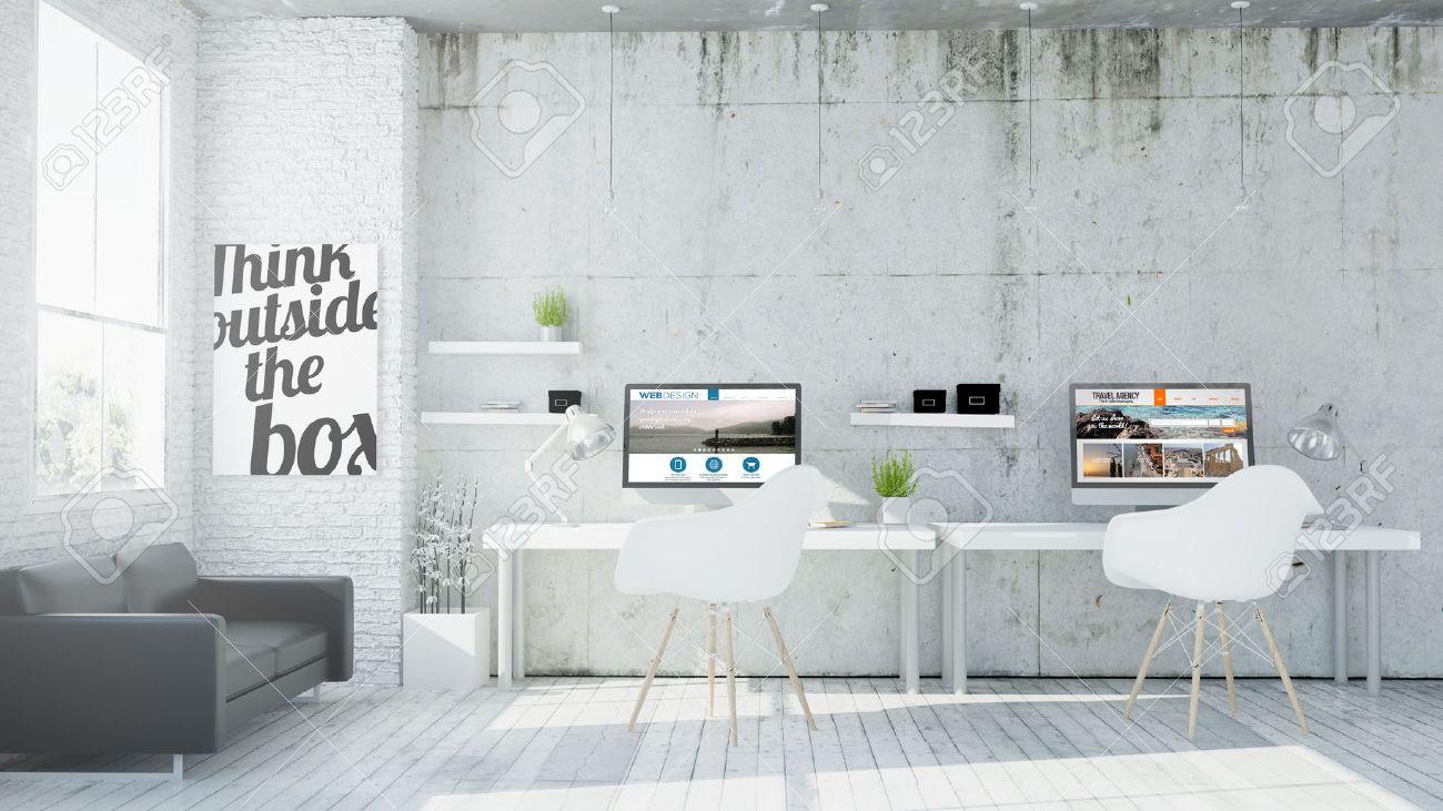 3d rendering of web design coworking office - 64171314