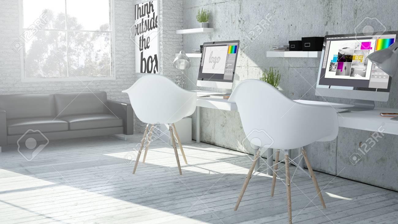 3d rendering of industrial graphic design coworking office - 64171356