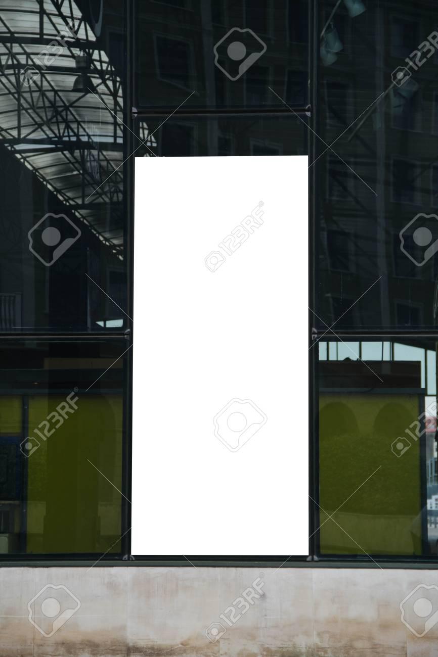 Leere Plakatwand Mockup Auf Dem Glas Gebäude Lizenzfreie Fotos