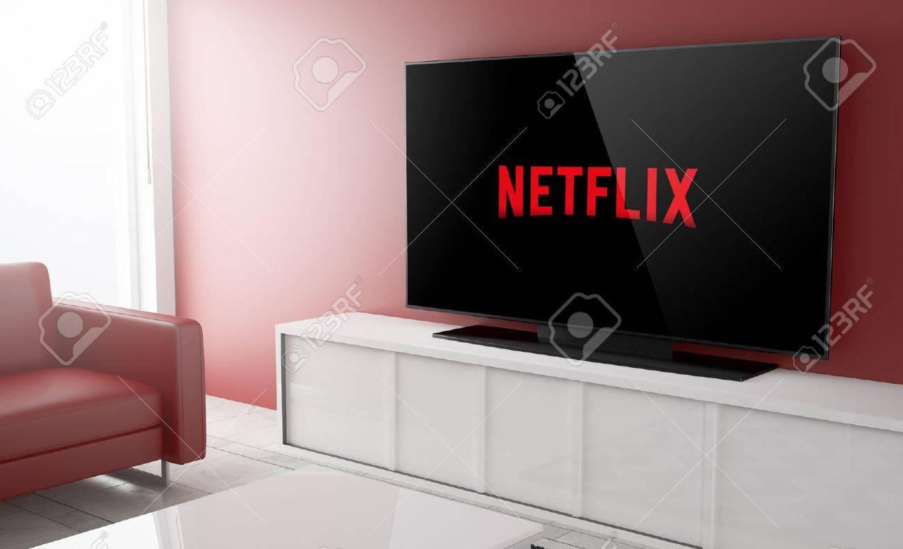 GIJON, SPAIN - OCTOBER 7, 2016: Netflix is a global provider