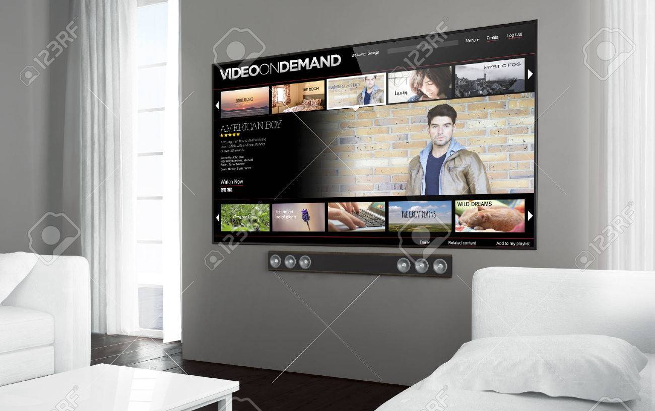 Ordinaire Big Screen Tv At Living Room With Video On Demand Screen. 3d Rendering.  Stock