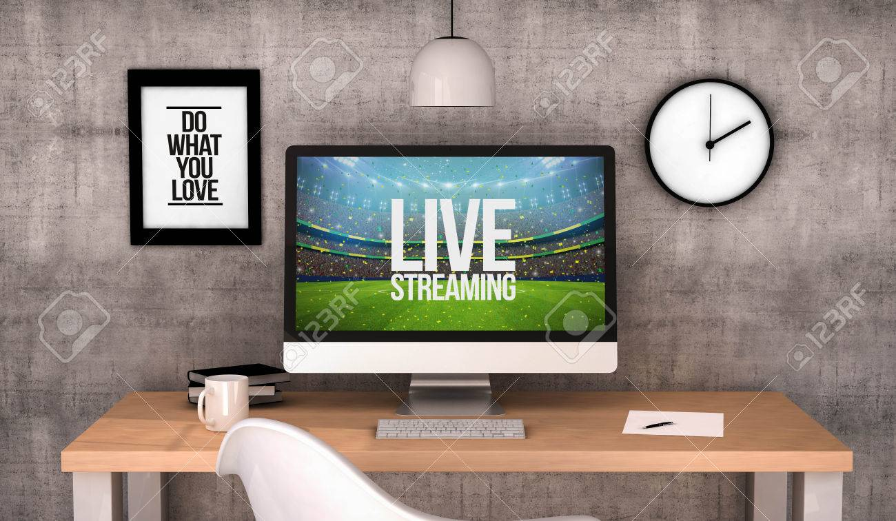 3d Rendering Workspace Desktop With Live Streaming On Screen