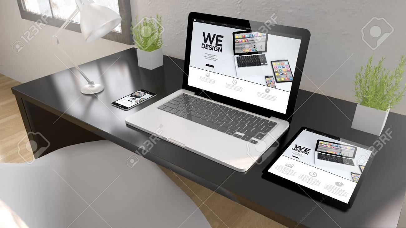 Bureau noir avec tablette ordinateur portable et smartphone