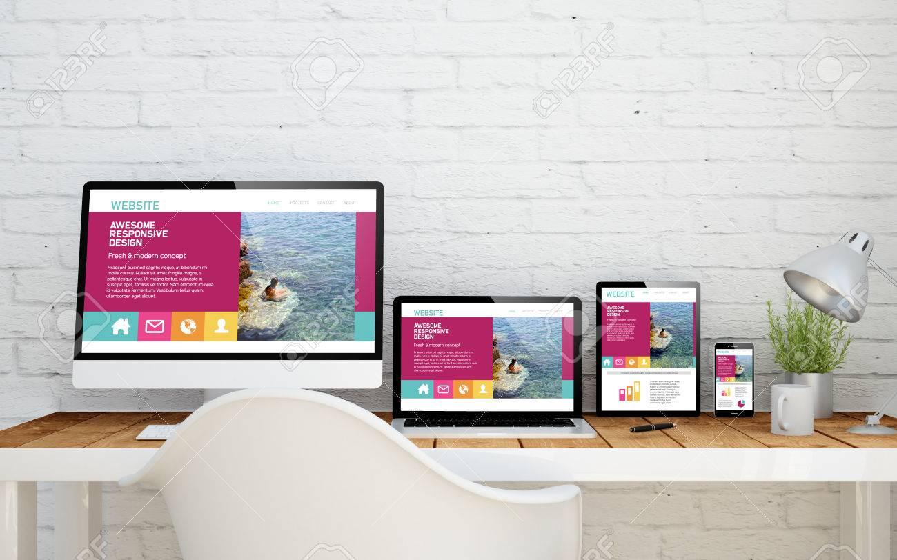 multidevice desktop with fresh design website on screens. 3d rendering. - 67866505