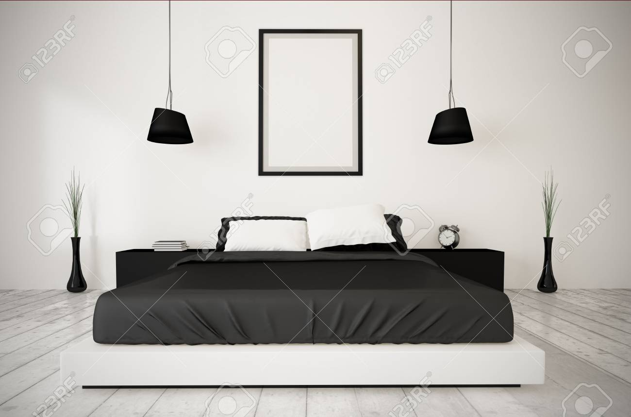 Frame On A Minimal Bedroom. 3d Rendering. Stock Photo, Picture And ...