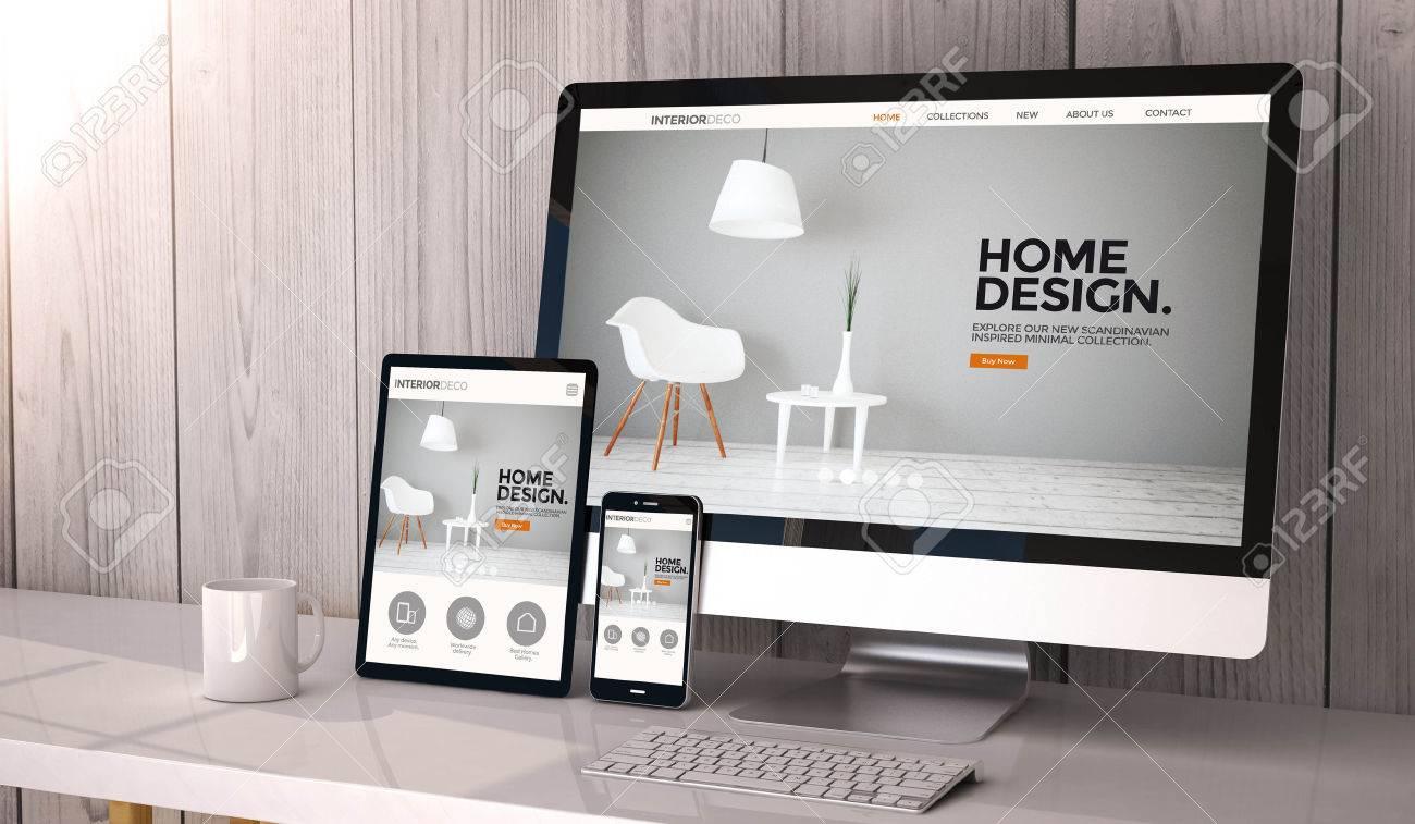 Digital generated devices on desktop, responsive interior design..