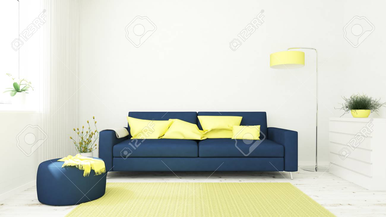 Wohnzimmer Innenraum Mit Sofa Blau Und Gelb 3d Rendering Lizenzfreie