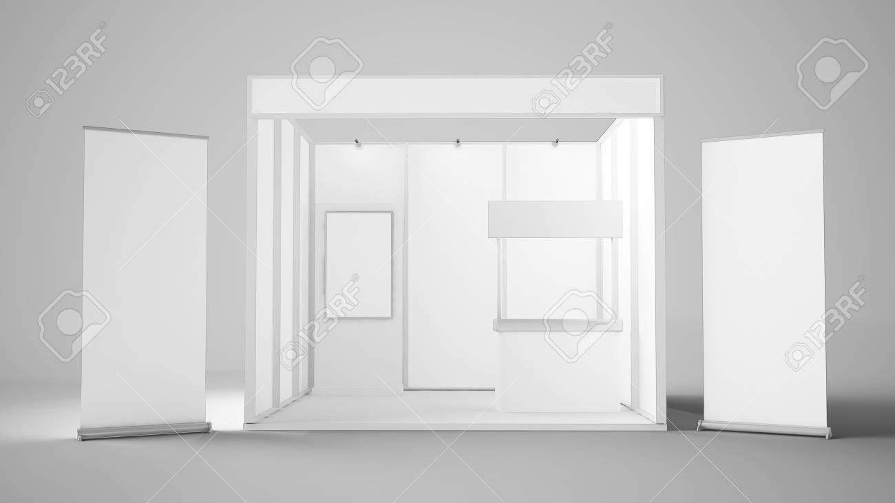 Exhibition Stand Drawing : 3d rendering of white exhibition stand with two roller reception