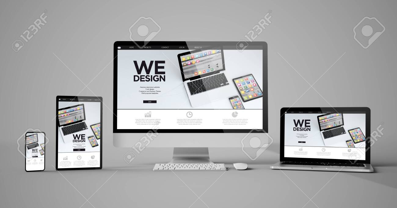Responsive devices design isolated mockup 3d rendering - 121499430