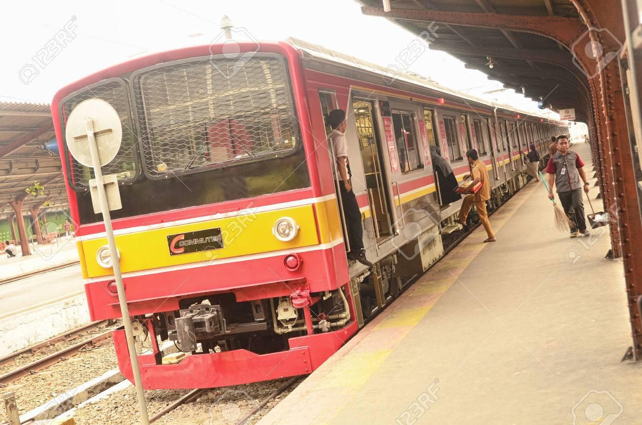 Jakarta commuter line in Jakarta Kota Railway Station - 56895746